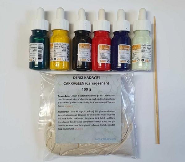 Marmorier (Ebru) Farben Set (6 Stk.) + 100 g. Carrageen