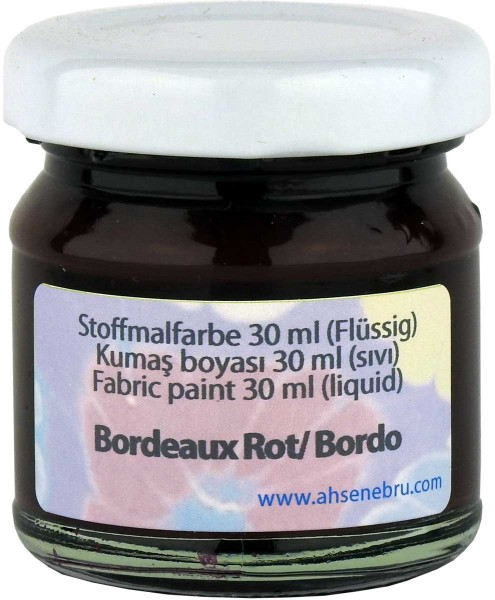 Stoffmalfarbe - Bordeux Rot 30 ml